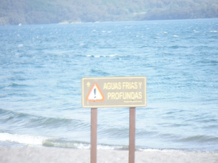 A Warning Sign By A Lake In Lanin National Park 11-2014.JPG