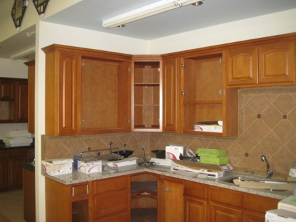 Our Upper Kitchen Cabinets Take Shape 10-4-2011.JPG